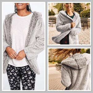 New VS PINK clay gray Sherpa cardigan